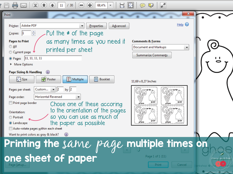 printing tips - the same page severaltimes