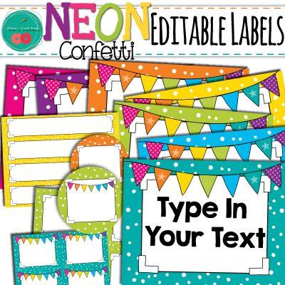 Confetti Editable Labels