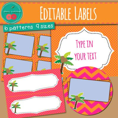 Editable Labels pink and orange with palm trees