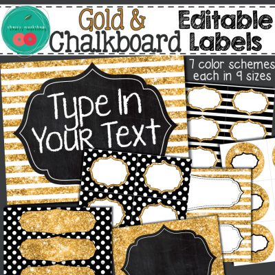 Editable labels with gold glitter and chalkboard