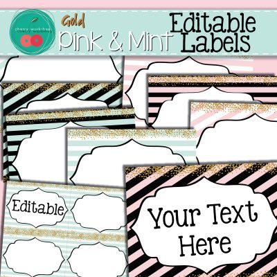 Pink and Mint Editable Labels