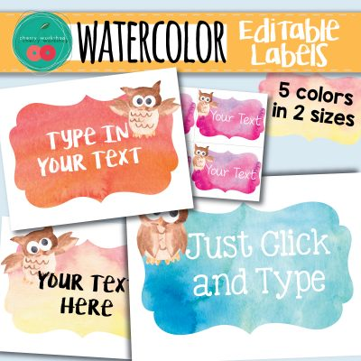 Watercolor Editable Labels